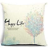 algodão floral vida feliz / fronha decorativo linho
