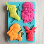 Christmas Tree Bell Gift Bear Fondant Cake Chocolate Silicone Mold Cake Decoration Tools,L10.6cm*W7.3cm*H1.1cm