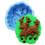 Christmas Elk Deer Fondant Cake Chocolate Silicone Mold Cake Decoration Tools,L10cm*W8.5cm*H4cm