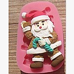 Christmas Claus Crutches Fondant Cake Chocolate Silicone Mold Cake Decoration Tools,L7.8cm*W5cm*H1.7cm