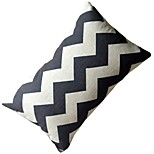 Cotton/Linen Pillow With Insert , Geometric Modern/Contemporary