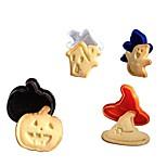 4pcs Set 3D Halloween Cake Cookie Cutter Plunger Fondant Mould Sugarcraft Modeling Tools