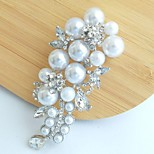 Women's Trendy Alloy Silver-tone Faux Pearl Rhinestone Flower Bridal Brooch Pin