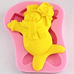 Christmas Snowman Fondant Cake Chocolate Silicone Mold Cake Decoration Tools,L8cm*W10cm*H0.8cm