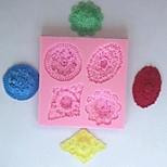 vier Löcher Blume Fondantkuchen Schokolade Silikonform Kuchen Dekorationswerkzeuge, l10.5cm * w9.5cm * h1.2cm