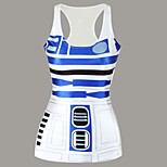 Cosplay Costumes Uniforms Festival/Holiday Halloween Costumes White / Blue Print Top Lycra / Polyester
