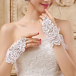 Wrist Length Fingerless Glove Lace/Voile Bridal Gloves