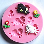 Sheep and Flowers Fondant Cake Silicone Mold Cake Decoration Tools,L7.7cm*W7.7cm*H1cm
