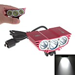 YuanBoTong  Waterproof 3-Mode 3xCree XM-L2 U2  High Power Headlamp (3000LM ,4 x18650,Red)