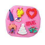 Heart Flower Ring Baking Fondant Cake Choclate Candy Mold,L8.4cm*W7.5cm*H0.8cm