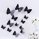 3D Wall Stickers Wall Decals,  Butterfly PVC Pure Color Wall Stickers 12 Pieces/Set