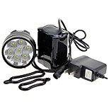 Front Bike Light 3-Mode 7xCree XM-L T6 LED Bicycle Flashlight (7000LM, 4x18650, Black)