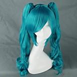 Pelucas de Cosplay Vocaloid Hatsune Miku Azul Mediano Anime/Videojuego Pelucas de Cosplay 75 CM Fibra resistente al calor Mujer