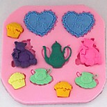 Cubs Love Tea Fondant Cake Chocolate Silicone Mold Cupcake Cake Decoration Tools,L8.1cm*W7.9cm*H0.9cm