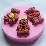 Three Bears Fondant Cake Silicone Mold Cake Decoration Tools,L7cm*W7cm*H1cm