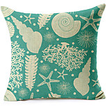 Sea Shells Pattern Cotton/Linen Decorative Pillow Cover