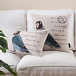 Set of 2 Countrystyle Bird Pattern Cotton/Linen Decorative Pillow Cover