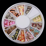 12 Kinds Fimo Slice Cake Series Nail Art Decoration(Random Pattern)