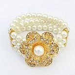 Women's Gorgeous Rhinestone Openwork Flower Layers Pearls Stretchy Strand Bracelets