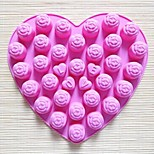 30 Hole Rose Shape Cake Mold Ice Jelly Chocolate Mold,Silicone 25×23×2 CM(9.8×9.1×0.8 INCH)