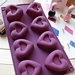 8 buraco molde geléia molde bolo de coração de gelo chocolate, silicone 30 × 17,5 × 3 cm (11,8 × 6,9 × 1,2 polegadas)