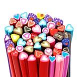 50PCS Sweet Heart Pattern 3D Cane Stick Rod Sticker Mixs Color Nail Art Decoration