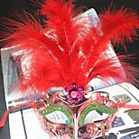 Women's Fashion Feather Carnival Party Mask(Random Color)