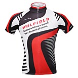 WOLFBIKE Men's Summer Quick Dry Breathable Short Sleeve Cycling Jersey - Black+Red
