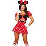 Cute Princess Mouse Polka Dot Red Terylene Girl's Cosplay Costume Halloween Costume