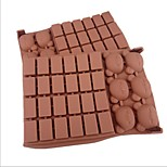 30 Hole Lattice Bear Shape Cake Ice Jelly Chocolate Molds,Silicone 18×12.5×2 CM(7.1×4.9×0.8 INCH)