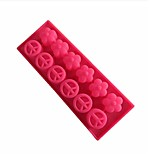 10 Hole Peace Shape Cake Ice Jelly Chocolate Molds,Silicone 25×9.5×1.8 CM(9.8×3.7×0.7INCH)