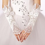 Elastic Satin Fingerless Bridal Gloves with Bow with Lace Trim with Rhinestones