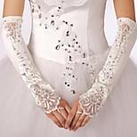 Elastic Satin Fingerless Bridal Gloves with Applique with Rhinestones