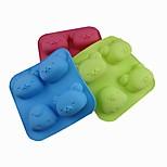 4 agujeros moldes de chocolate torta de la forma de pollo oso jalea de hielo, de silicona de 18 × 18 × 3,5 cm (7,09 × 7,09 × 1,4 pulgadas) de color