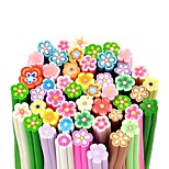 50PCS Flower Pattern 3D Cane Stick Rod Sticker Mixs Color Nail Art Decoration