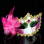Women's Fashion Flower Rhinestone Carnival Party Mask(Random Color)