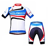 WOLFBIKE Men's Summer Mountain Bike Breathable Short Sleeve Cycling Suit-White+Blue