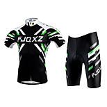FJQXZ Unisex Summer Polyester Mesh Short Sleeves Jersey Lycra Cushion Shorts Black+Green Breathable Anti-UV Cycling Suit