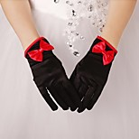 Black Elastic Satin Wrist Fingertips Evening Party Gloves with Bow