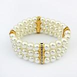 Women's Elegant Rhinestone Layers Pearls Stretchy Wide Strand Bracelets