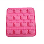 16 Hole Pig Head Shape Cake Ice Jelly Chocolate Molds,Silicone 17×17×2 CM(6.7×6.7×0.8 INCH)