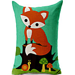 Cute Fox Cotton/Linen Printed Decorative Pillow Cover