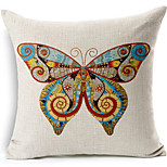 Beautiful Butterfly Cotton/Linen Printed Decorative Pillow Cover