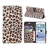 modello del leopardo di stile del raccoglitore di caso di vibrazione magnetica del cuoio del basamento per il iphone 6 più (colori