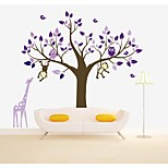 Wall Stickers Wall Decals, Large Tree with Giraffe PVC Wall Sticker