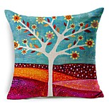 Cotton/Linen Pillow Cover , Floral Modern/Contemporary