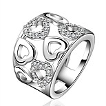 Ring AAA Cubic Zirconia Fashion Party Jewelry Silver Plated Women / Men Band Rings 1pc,6 / 7 / 8 / 9 Silver