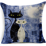 Black and White Cats Cotton/Linen Printed Decorative Pillow Cover