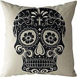 Black Skull Cotton/Linen Printed Decorative Pillow Cover