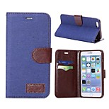 Jean Cloth Design Wallet Style Magnetic Flip Stand Brown TPU+PU Leather Case for iPhone 6 Plus